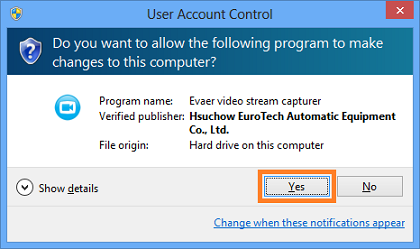 c and please click the yes button to allow evaer to capture the skype video stream if the below window popup